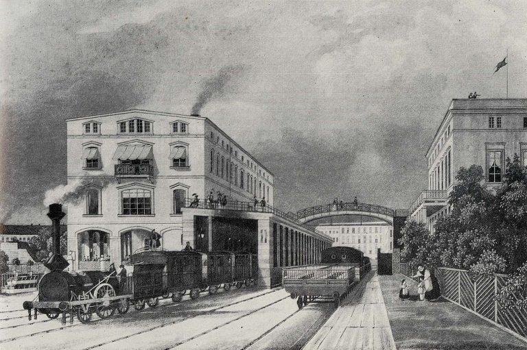 Potsdamer Bahnhof in Berlin um 1843 (Zeichnung)
