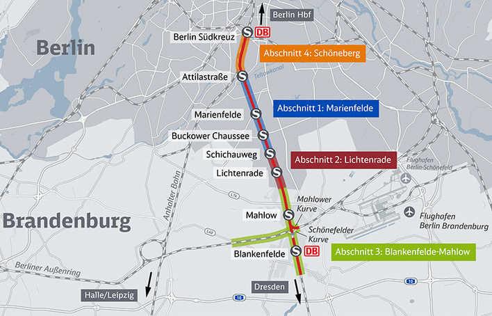 Dresdner Bahn Bauabschnitte (Grafik: Deutsche Bahn)